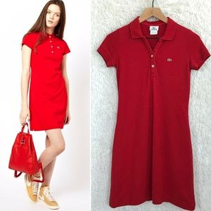 Red Polo Shirtdress Short Sleeve Lacoste